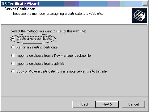 Crea nuovo certificato