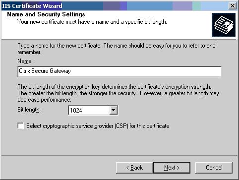 Nome certificato e lunghezza