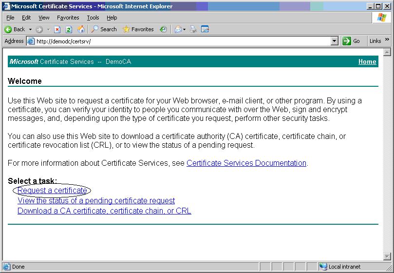 Richiesta Certificato