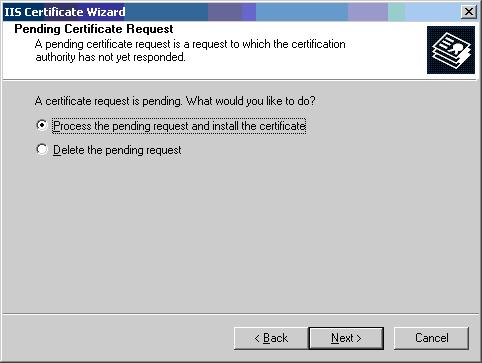 Process pending request
